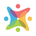 Diversity and Inclusion icon. Image of four symmetrical shapes of varying colors.