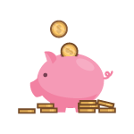 Future Planning icon. Image of a pink piggy bank with several coins.