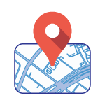 Location icon. Image of a location pin and a map of El Paso Central Appraisal District.
